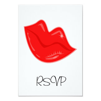 """RSVP Card Pretty Red Lips on White 3.5"""" X 5"""" Invitation Card"""