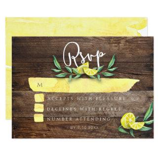 RSVP CARD | Rustic Wood Lemon Watercolor Wedding