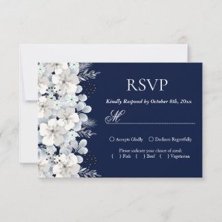RSVP card white flower sakura navy blue