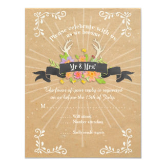 RSVP Cards Deer Antler Wildflower Starburst Rustic
