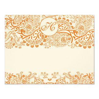 RSVP Cards-Love Birds Orange Coral Whimsical Card