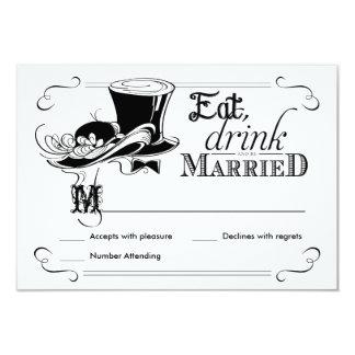RSVP Chalkboard Vintage Wedding Hats Card