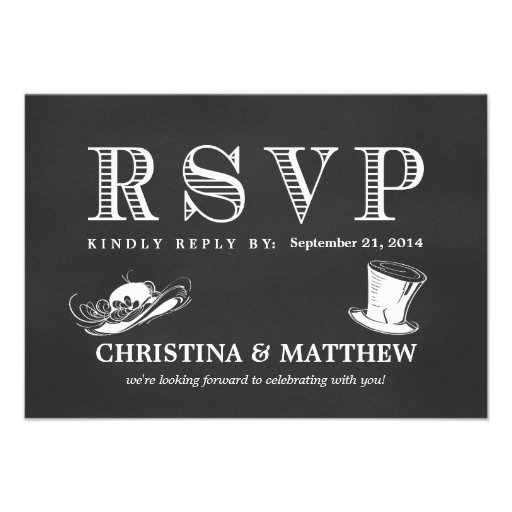 RSVP Chalkboard Vintage Wedding Hats Custom Invitation