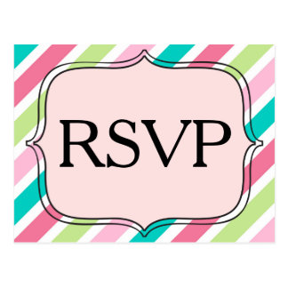 RSVP Diagonal Pink and Blue Stripes Postcard