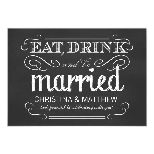 RSVP Eat Drink be Married Chalkboard Reply Cards