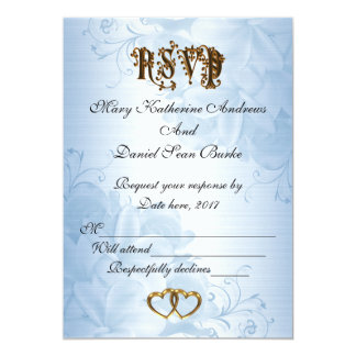 RSVP elegant Blue satin wedding Card
