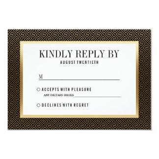RSVP | Elegant Formal Golden Geometric on Black Card