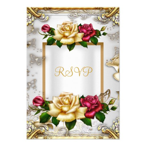 RSVP Elegant Party Roses White Gold Red Pink Announcements