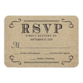 "RSVP Elegant Rustic Burlap Wedding Reply Cards 3.5"" X 5"" Invitation Card"