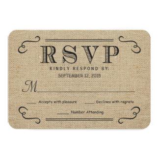 RSVP Elegant Rustic Burlap Wedding Reply Cards Custom Announcement