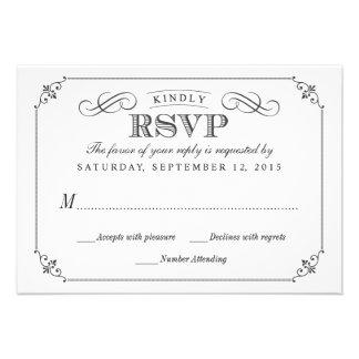 RSVP Elegant Vintage Chalkboard Stlye Wedding Personalized Announcement