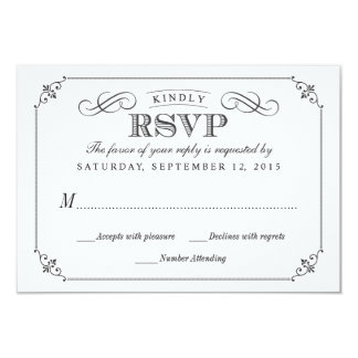 RSVP Elegant Vintage Chalkboard Stlye Wedding Personalized Announcement