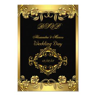 RSVP Elegant Wedding Ornate Floral Black Gold 3.5x5 Paper Invitation Card