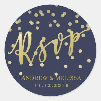 RSVP | Faux Gold Brush Script Wedding Sticker