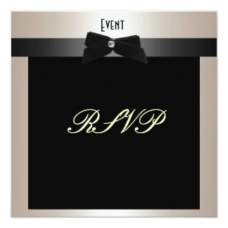 "RSVP Formal Black Tie Champagne 5.25"" Square Invitation Card"