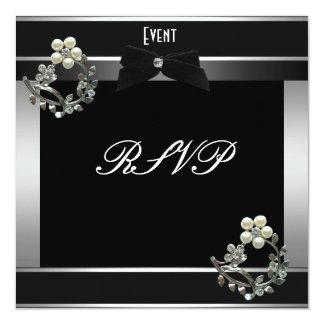 "RSVP Formal Black Tie Silver 5.25"" Square Invitation Card"