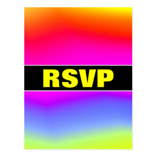 """RSVP"" + Fun Multicolored Rainbow-Like Pattern Postcard"