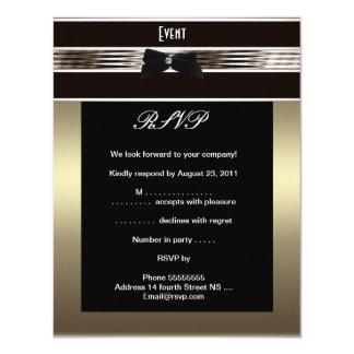 "RSVP Fundraiser Formal Black Tie Bronze Pewter 4.25"" X 5.5"" Invitation Card"