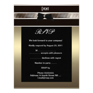 RSVP Fundraiser Formal Black Tie Bronze Pewter Invitations