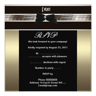 "RSVP Fundraiser Formal Black Tie Bronze Pewter 5.25"" Square Invitation Card"