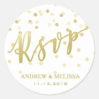 RSVP Gold Brush Script & Confetti Wedding Sticker