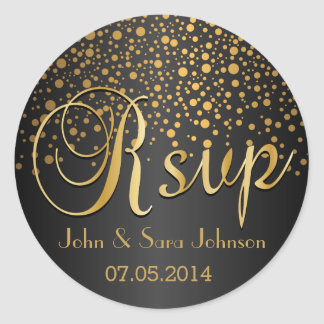 RSVP | Gold Dots and Black | Personalize Classic Round Sticker
