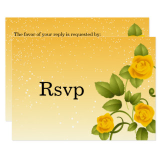 RSVP Gradient Yellow Floral Wedding Card