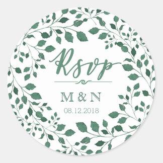 RSVP | Green Leaves Wreath Monogram Wedding Classic Round Sticker