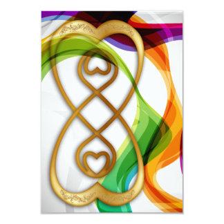 "RSVP Hearts Double Infinity & Rainbow Ribbons - 3 3.5"" X 5"" Invitation Card"