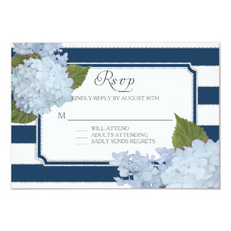 """RSVP Hydrangea Modern Elegant Navy White Stripe 3.5"""" X 5"""" Invitation Card"""