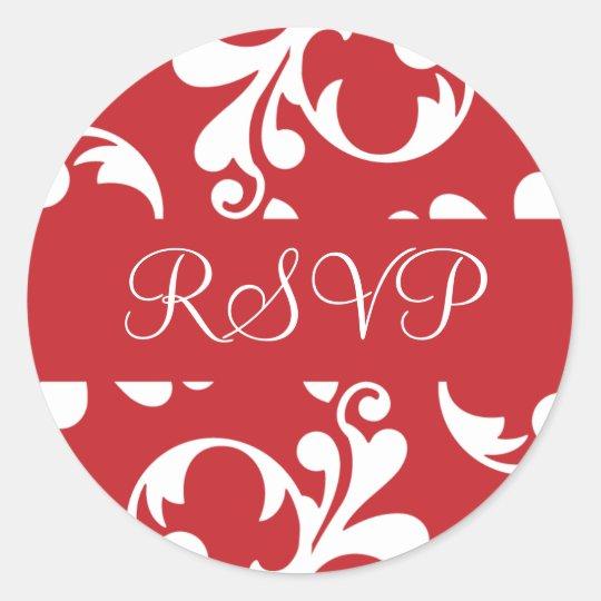 RSVP Leaf Flourish Envelope Sticker Seal