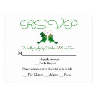 RSVP Lovebird Green & White Wedding Party Card