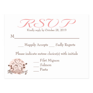RSVP Lovebirds Pink And Brown Response Card Postcard