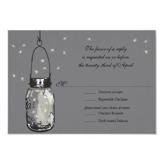 RSVP Mason Jar & Fireflies Wedding Card
