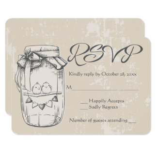 RSVP Mason Jar Lovebirds Brown Tan Wedding Card