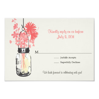 RSVP Mason Jar & Wildflowers Wedding Card