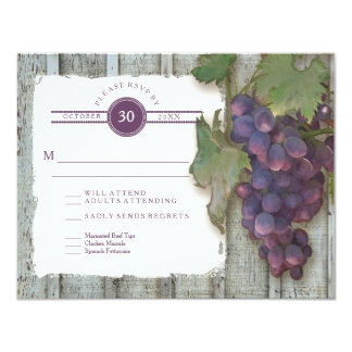 "RSVP Meal Menu Options Vintage Wood n Vineyard 4.25"" X 5.5"" Invitation Card"