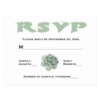 RSVP Mint Green Succulent Cactus Wedding Response Postcard