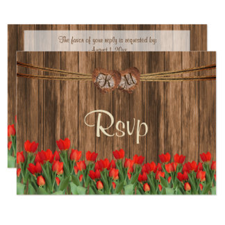 RSVP Monogram Wood Heart with Red Tulip Flowers Card