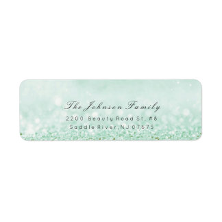 RSVP Name Address Mint Green Glitter Pastel