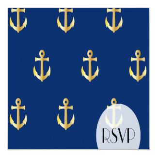 RSVP - Nautical Anchors (Boat Anchors) - Blue Gold Card