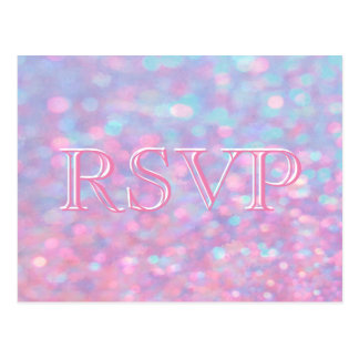 RSVP | Pink Bokeh Lights Postcard
