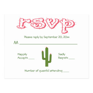 RSVP Pink & Green Cactus Party Wedding Response Postcard