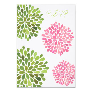 "RSVP Pink & Green Floral Blooms Wedding Card 3.5"" X 5"" Invitation Card"
