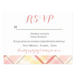 RSVP Pink Yellow Stripe Argyle Plaid Wedding Party Postcard