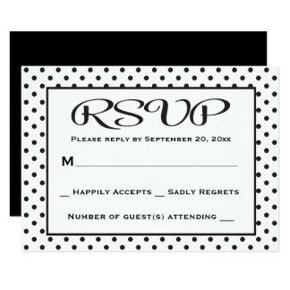 "RSVP Polka Dot Black And White Wedding / Party 3.5"" X 5"" Invitation Card"