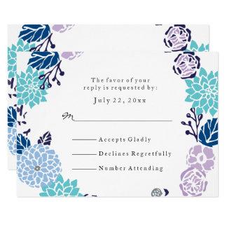 RSVP  Purple & Blue Garden Wreath Wedding Card
