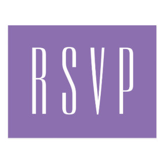 RSVP Purple or ANY COLOR Wedding Response Postcard