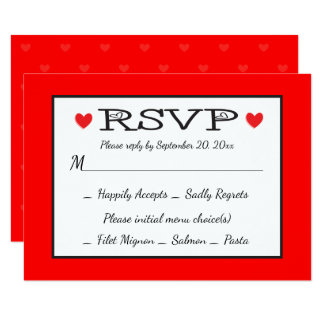 """RSVP Red And White Hearts Wedding / Party 3.5"""" X 5"""" Invitation Card"""