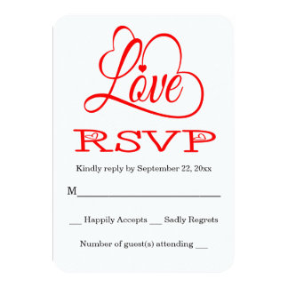"RSVP Red And White Love Hearts Wedding / Party 3.5"" X 5"" Invitation Card"